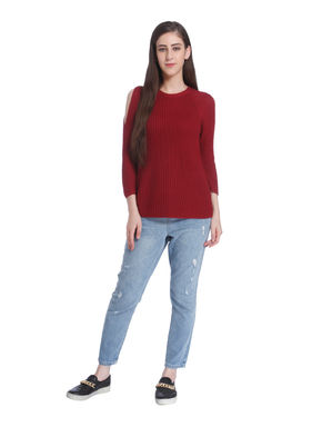 Red Cold Shoulder Pullover