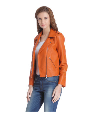 Rust Cropped Biker Jacket
