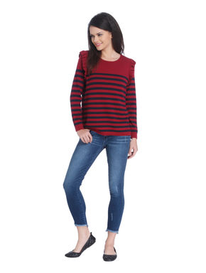 Red Striped Ruffle Detail Pullover
