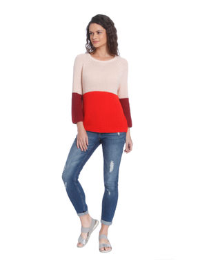 Red Colour Blocked Pullover
