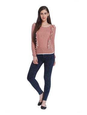 Pink Ruffle Detail Pullover