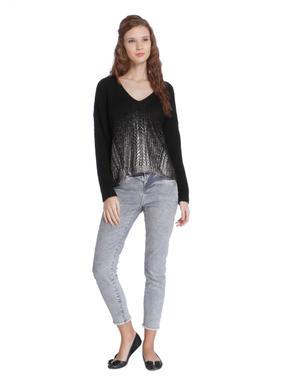 Black Ombre V-Neck Pullover