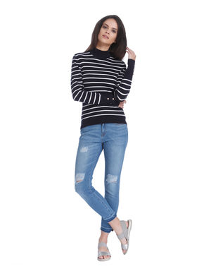 Blue Striped High Neck Pullover