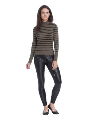 Brown Striped High Neck Pullover