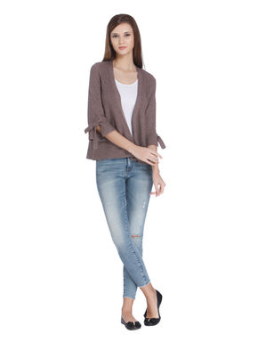Taupe 3/4Th Sleeve Cardigan
