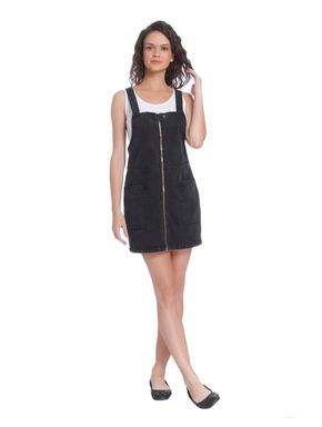 Dark Grey Pinafore Denim Mini Dress