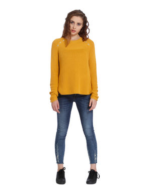 Yellow Button Detail Pullover