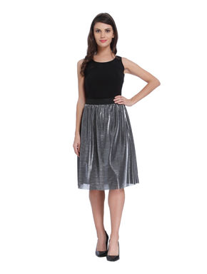 Black Metallic Midi Skirt