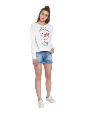 White Slogan Print Sweatshirt