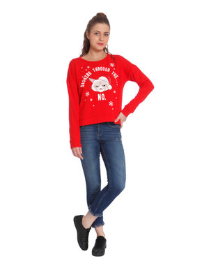 Bright Red Slogan Print Sweatshirt