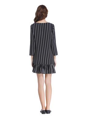 Blue Striped Drop Waist Mini Dress