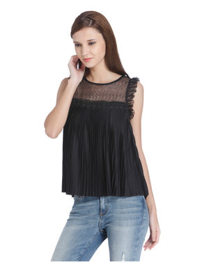 Black Pleated Mesh Insert Top