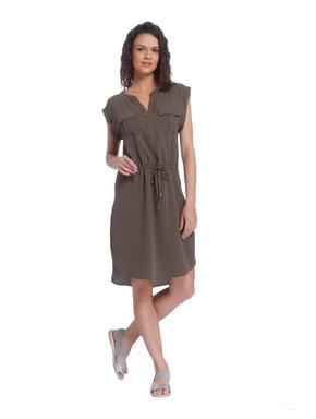 Olive Green Draw String Midi Dress