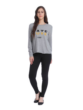 Light Grey Slogan Print Sweatshirt