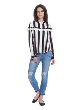 White Striped Frill Detail Shirt