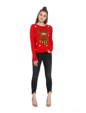 Red Reindeer Print Pullover
