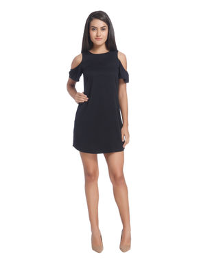Black Cold Shoulder Shift Dress