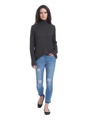 Dark Grey High Neck Loose Fit Pullover