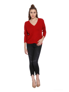 Red Cable Knit Pullover