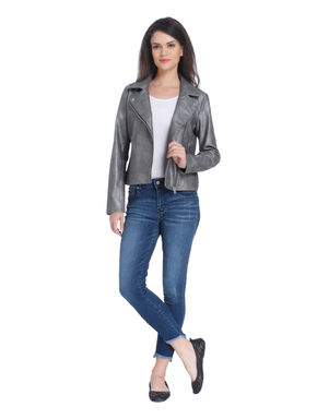 Grey Cropped Biker Jacket