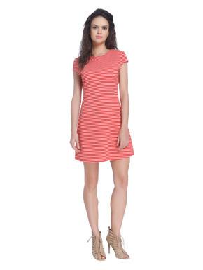 Red Striped Midi Dress