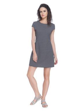 Blue Striped Midi Dress