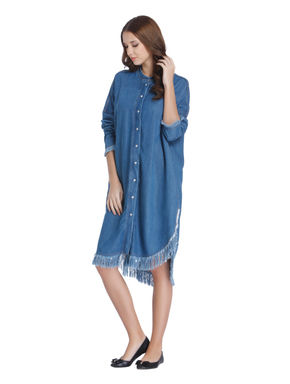 Blue Frayed Hem Denim Shirt Dress