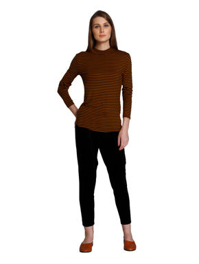 Brown Striped High Neck T-Shirt