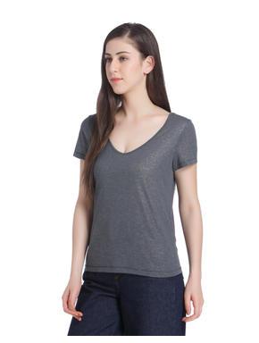 Grey Shiny V-Neck Top