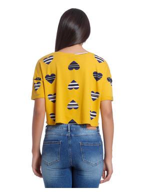 Heart Print Yellow Sweat Top