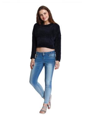 Dark Blue Cropped Pullover