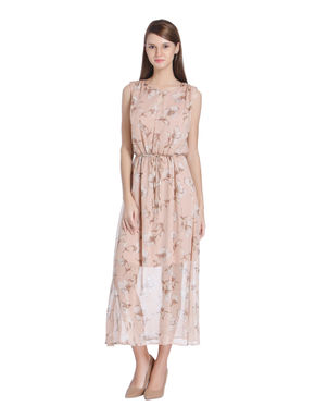 Beige Floral Print Midi Dress
