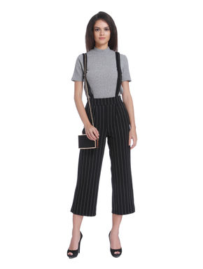 Black Striped Braces Mid Rise Cropped Pant