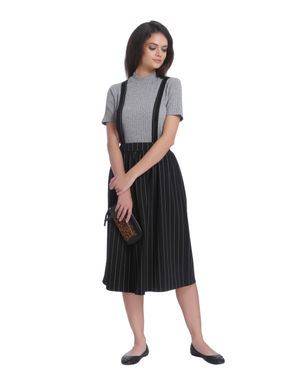 Black Striped Braces Midi Skirt