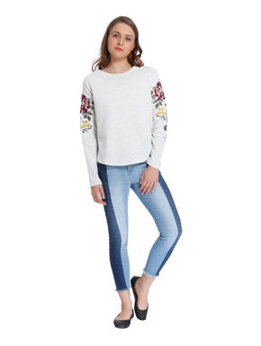 Off White Floral Embroidered Sweatshirt