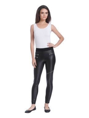 Black PU Zip Detail Pants