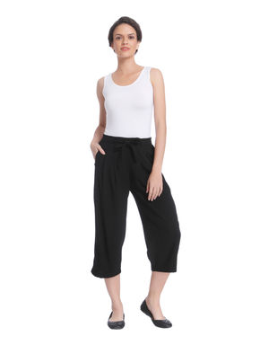 Black Mid Rise Wide Leg Pants