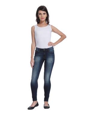 Dark Blue Medium Rise Skinny Fit Jeans