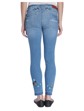 Ankle Length Floral Patchwork Blue Jeans