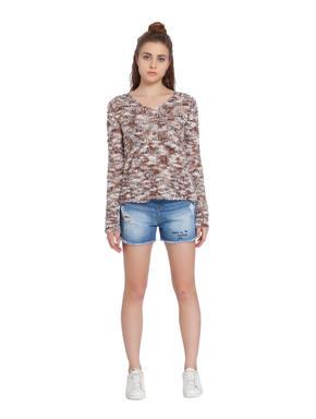 Brown V-Neck Knit Pullover