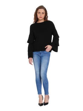 Black Ruffle Sleeves Pullover