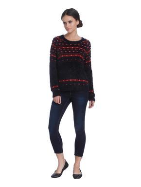 Dark Blue Applique Print Sweater