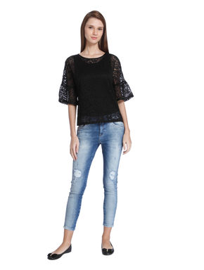 Black Flared Sleeves Lace Top