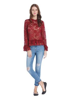 Red Tiered Hem Lace Top