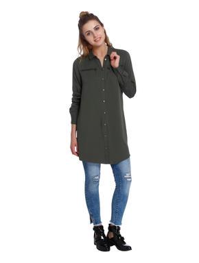 Green Zip Detail Long Shirt