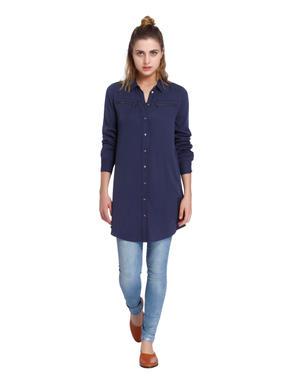 Dark Blue Zip Detail Long Shirt