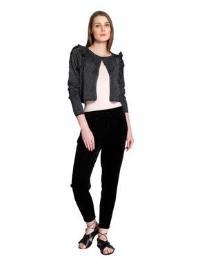Black Shimmer Short Cardigan