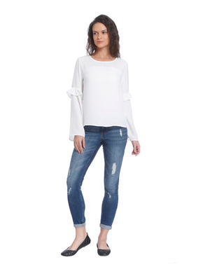 White Bell Sleeves Top