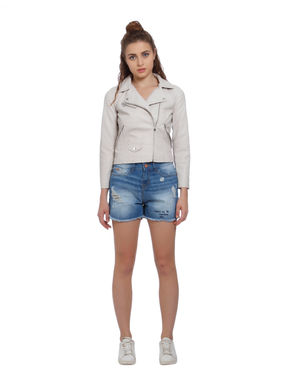 Off White Faux Leather Cropped Biker Jacket