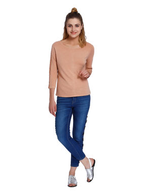 Beige Lace Insert Sleeves T-Shirt